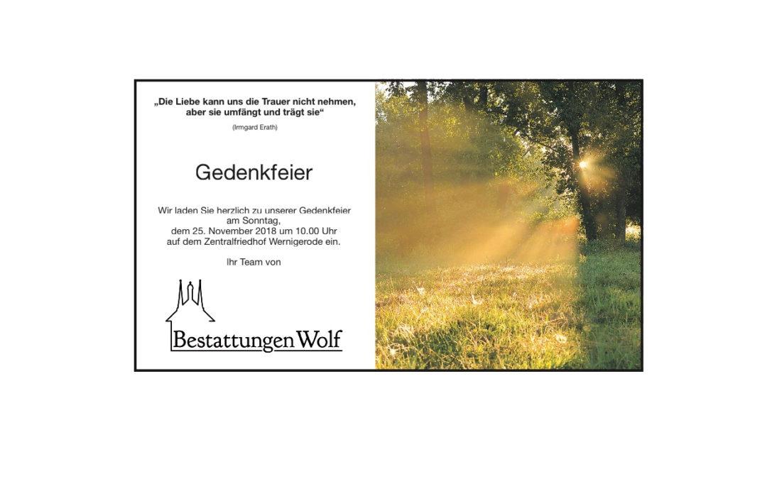 Gedenkfeier auf dem Zentralfriedhof Wernigerode